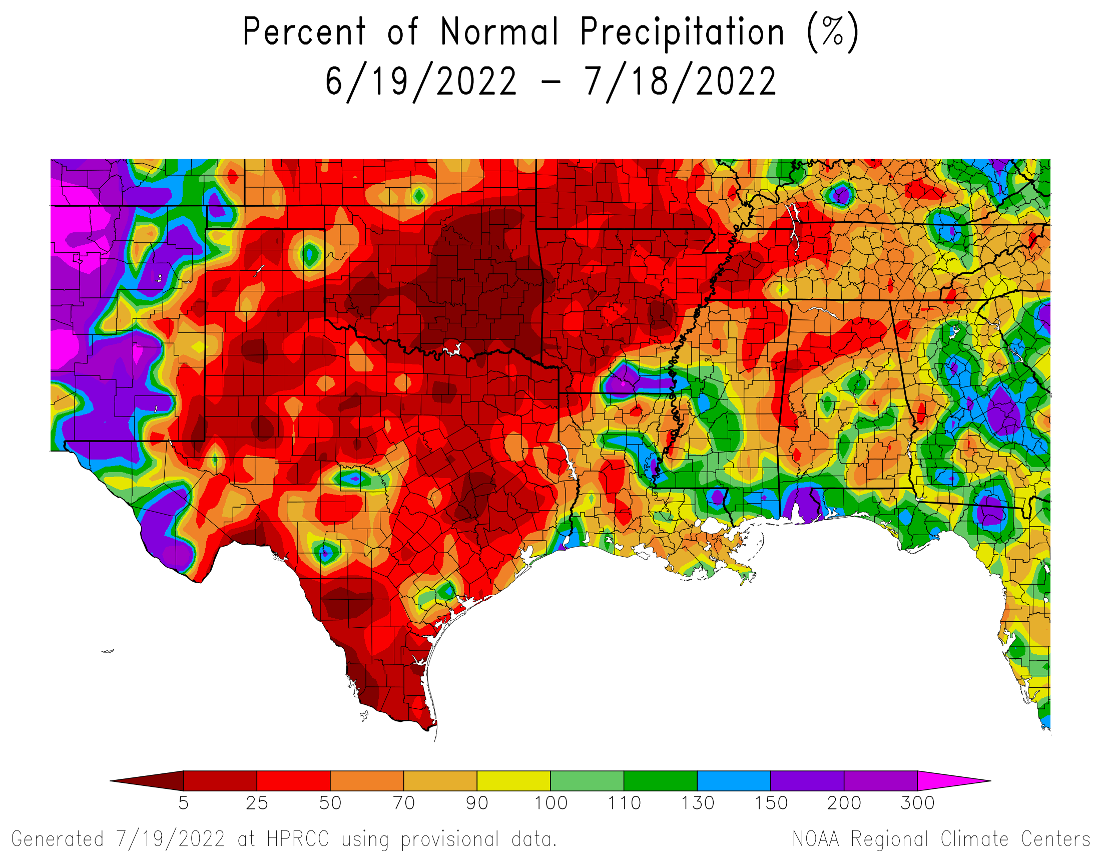 30-day Precipitation Percent of Normal