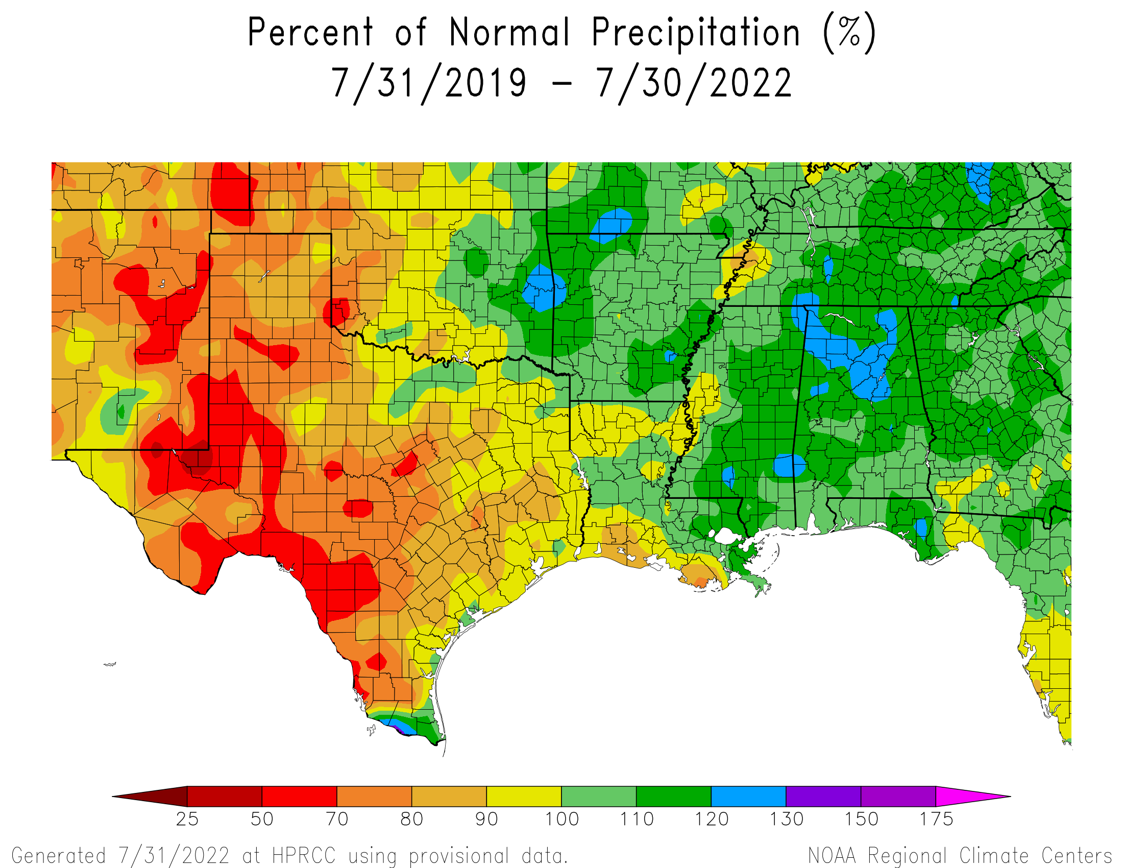 3-year Precipitation Percent of Normal