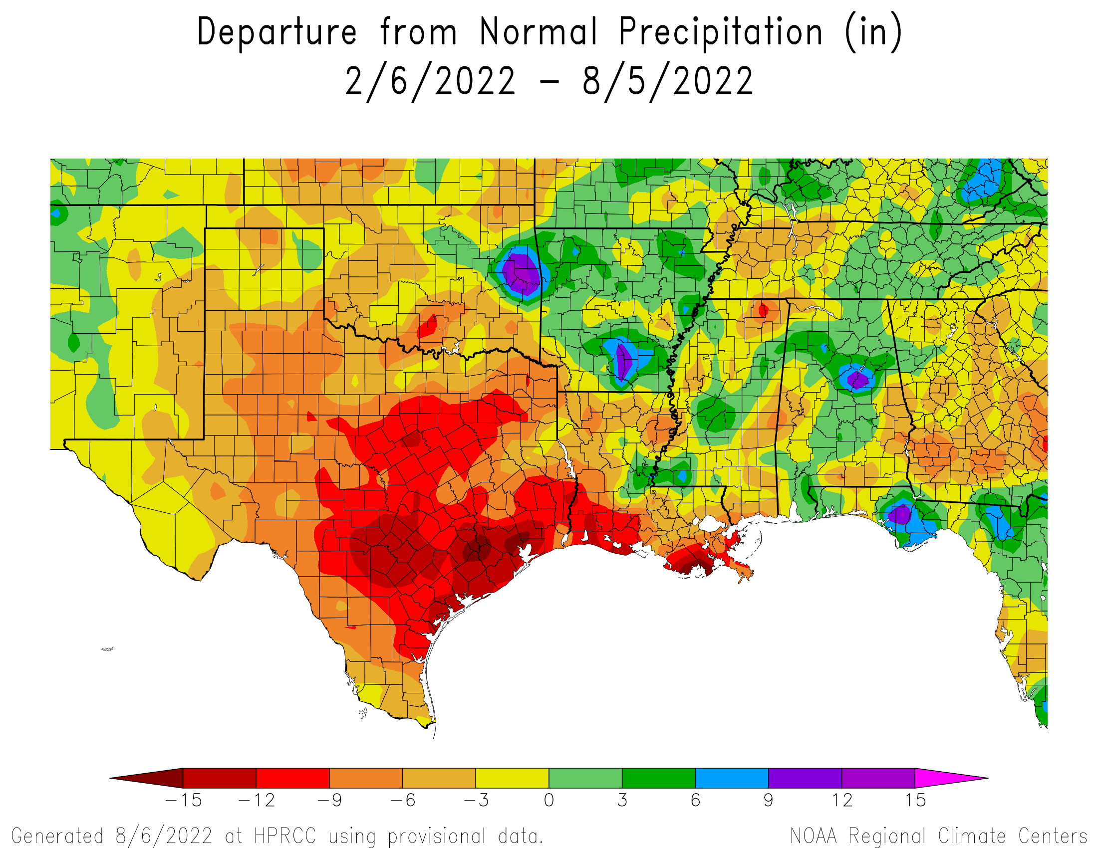 6-month Precipitation Departure from Normal