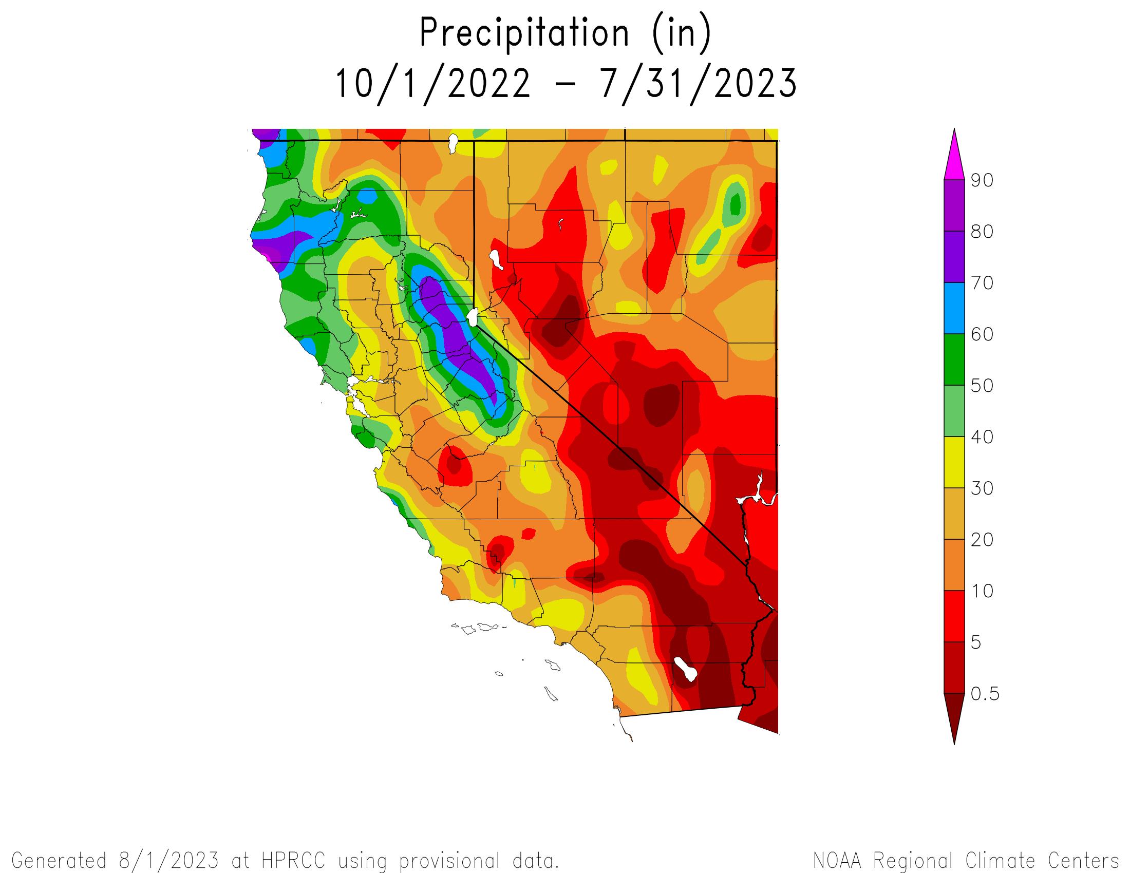 Actual Precipitation for California