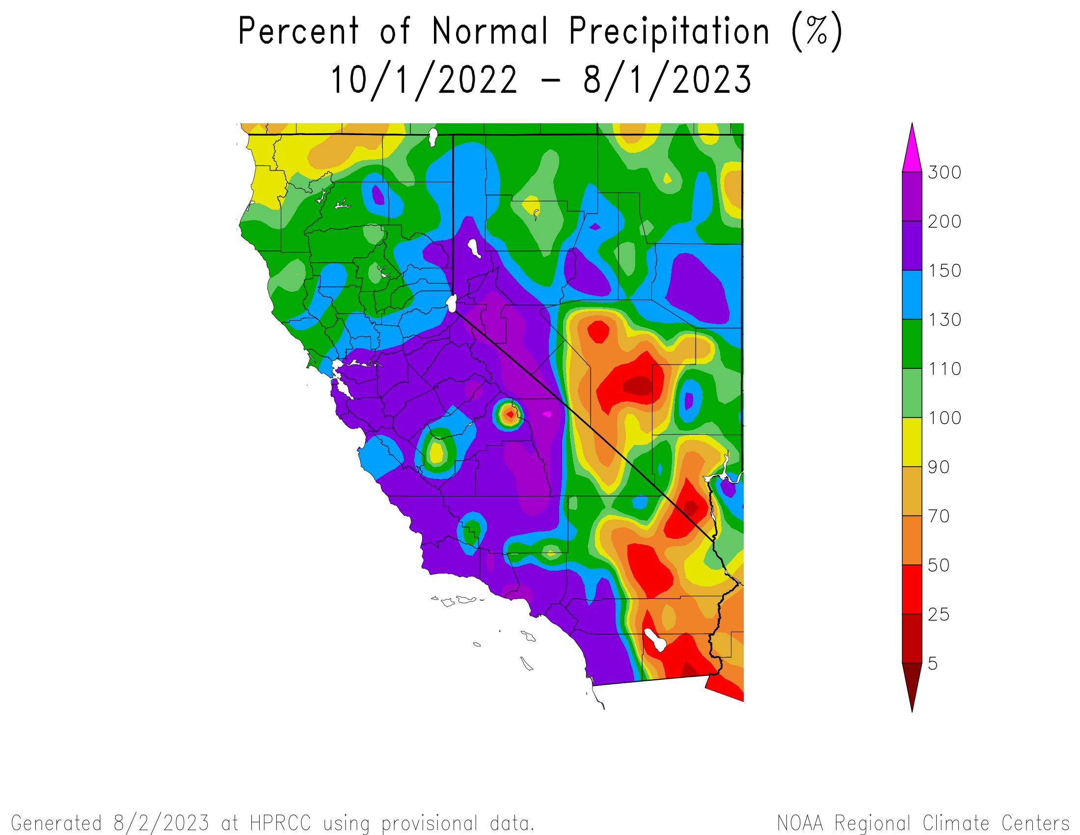 Percent of Normal Precipitation for California
