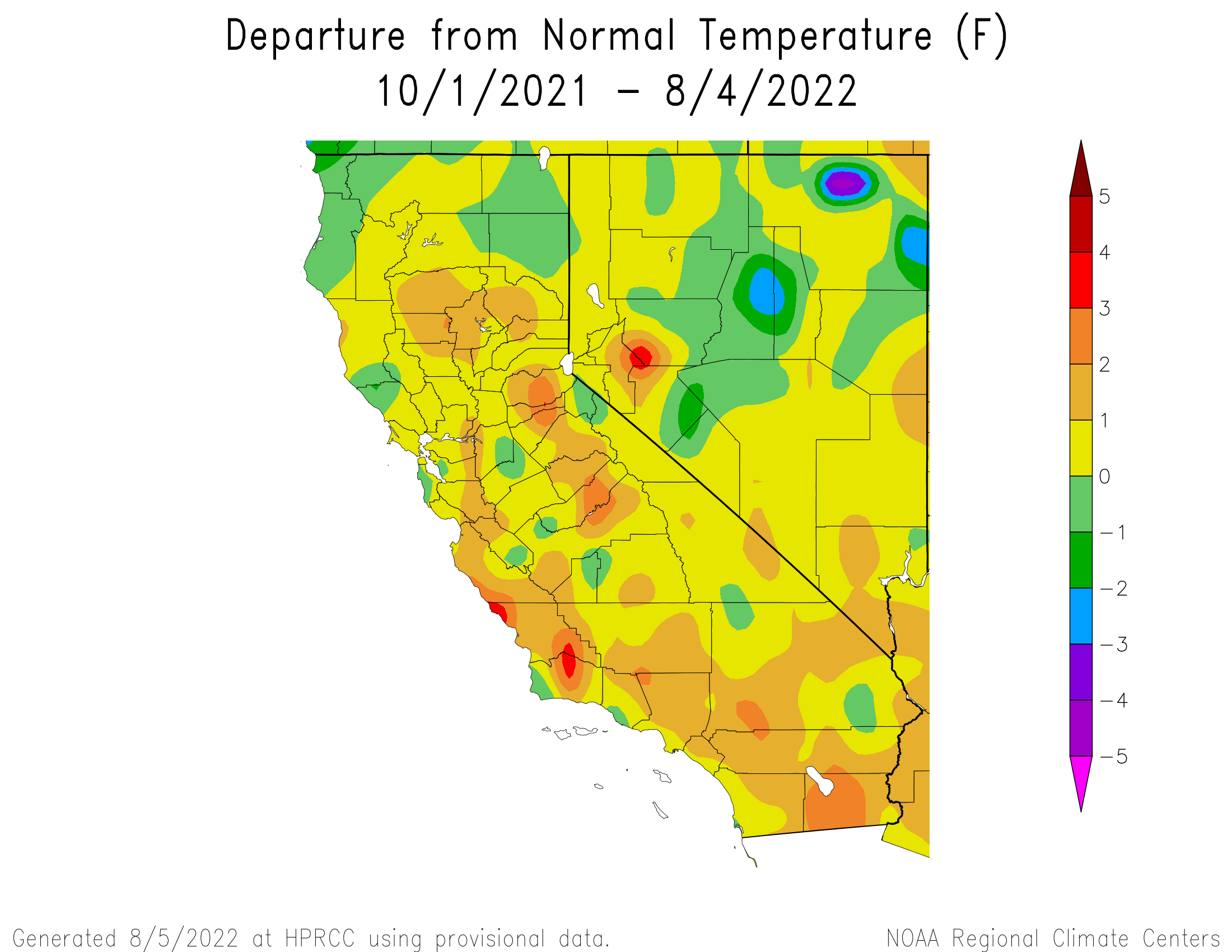 Departure from Normal Temperature for California