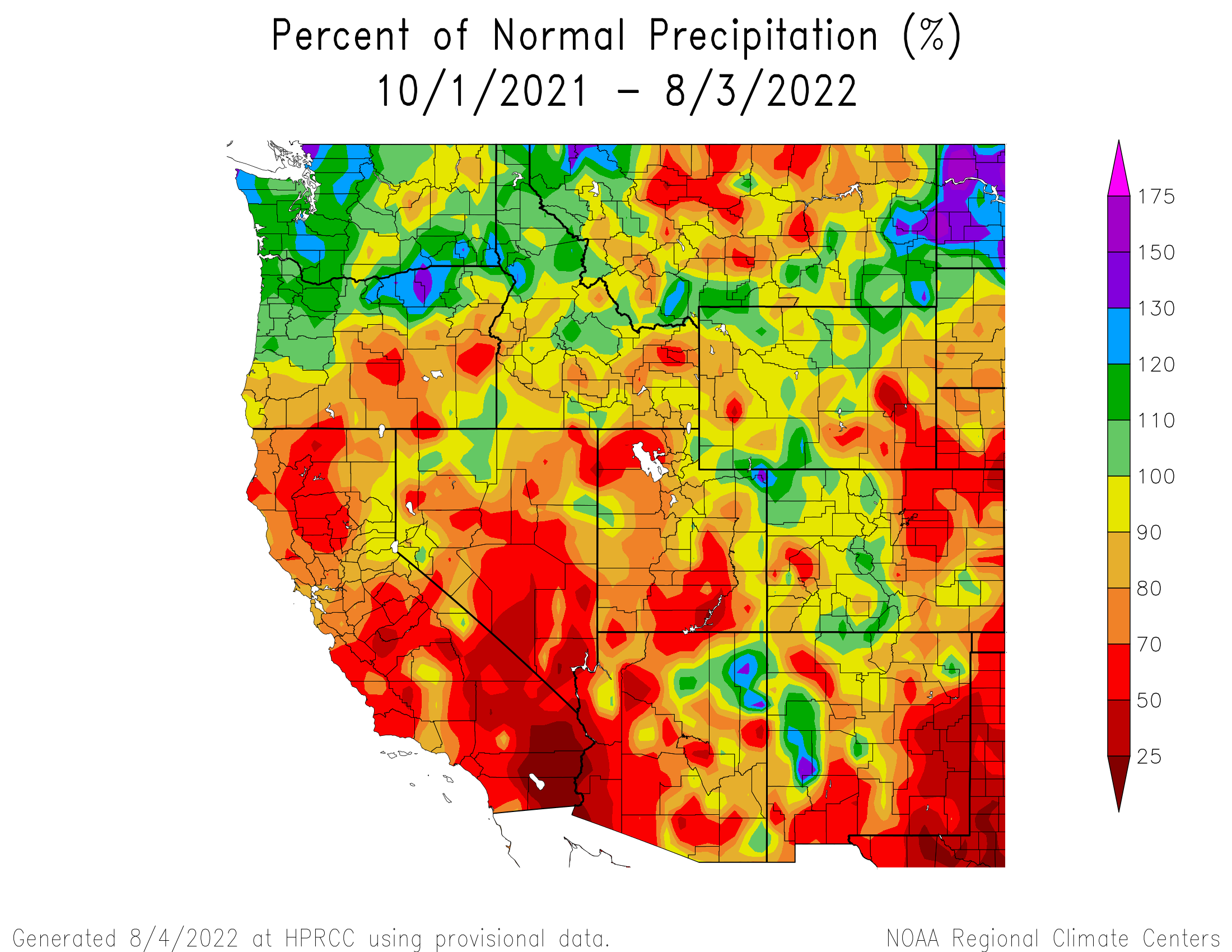 Water Year Precipitation Anomaly - West