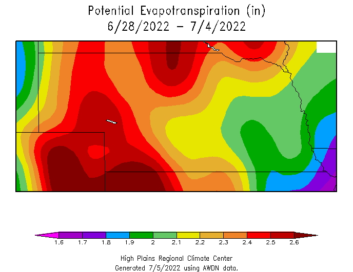 Nebraska map of average ET for previous week
